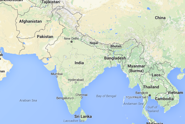 Fragment Google Maps as supplied bij the regional contact from India